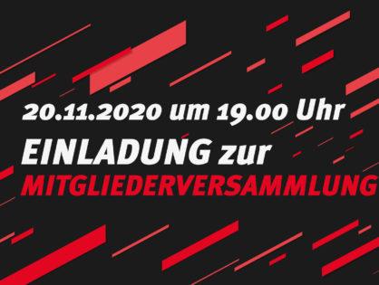 20.11.2020: Einladung zur Mitgliederversammlung